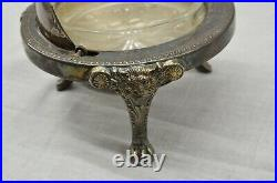 B Roger Silver Co Roll Top Lion Footed Caviar Dish, Marked 1883 No 273