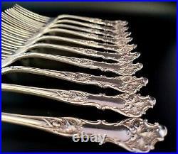 Charter Oak Pattern 1847 Rogers Bros. XS Triple 10 Antique Silver Steak Forks