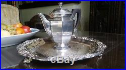 Christofle France Silver Plate Tea Pot And F. B. Rogers Round Serving Tray