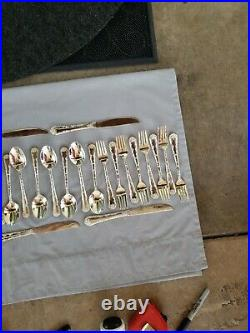 ENCHANTED ROSE International Silver Co Wm Rogers & Sons 42 Pieces