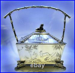 Egyptian Revival Sphinx Box Bowl Basket Winged Lion Rogers Co Silverplate Relief
