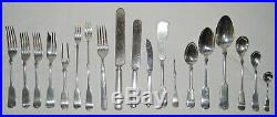 Extensive Set of 19th c. Rogers Tipped Pattern Silverplate With Chest-184 Pieces