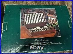 FB Rogers FRENCH ROSE DESIGN SILVER PLATE FLATWARE Silverware with WOODEN BOX