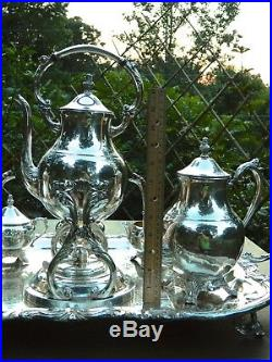 FB Rogers Lg Silverplate Tea/Coffee Service 10 Piece Set Tray Pot Sugar Creamer
