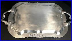 FB Rogers Silver Plated Serving Tray Large Handled Tea Tray Etched Footed 25
