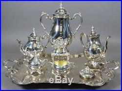 FB Rogers Silverplate 6pc Tea Coffee Pot Set 27.5 Serving Tray & Samovar