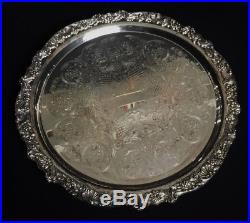 F. B. ROGERS SILVER PLATED PUNCH BOWL / LADLE / TRAY / 16 CUPS Set