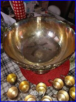 F. B. Rogers Silver Co. 1883 Silverplate Punchbowl, 10 Cups Set #5614