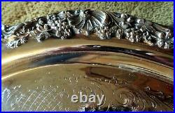 F. B. Rogers Silver Co. Silverplate Large Punch Bowl 12 Cups 2 Trays Ladle