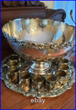 F. B. Rogers Silver Co. Silverplate Large Punch Bowl 15 Cups 1 Trays Ladle