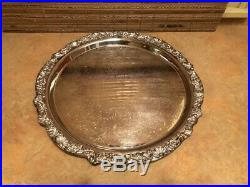 F. B. Rogers Silver Punch Bowl Cups Service Tray Ladle (total 17 pc set)