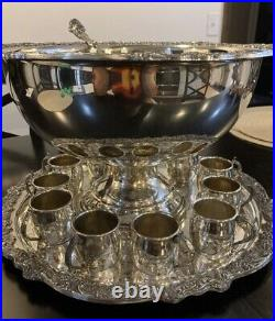 F. B. Rogers Silverplate Punch Bowl/tray/cup