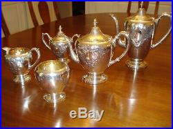 F. B. Rogers Sterling Silver Tea Coffee Set 400 5 Pcs, Hand Chased. No Monogram