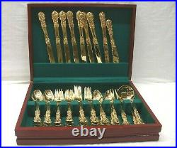 French Rose 44 Piece Goldplated Flatware Set In Wooden Chest FB Rogers and Sons