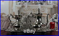 Gorgeous Victorian Antique Silverplate Tea Set FB Rogers 5 Pieces