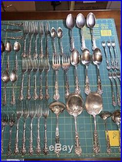 HUGE 102 Piece Lot 1847 ROGERS 1906 CHARTER OAK Art Nouveau Silverplate Flatware