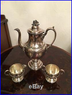 Hand chased Roger Smith silver-plate Tea pot set sugar creamer grapes and vines