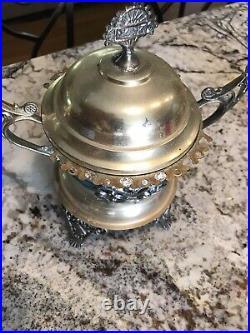 J. Rogers Silver Co. Victorian silver sugar Spooner. Quadruple