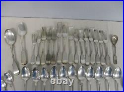 Large Lot Antique Fiddle Thread Silverplate Flatware Rogers Reed Barton & More