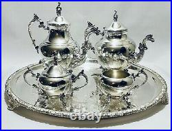 Majestic Antique Large Set of 4 1883 Tea Set of FB Rogers on Old Sheffield Tray