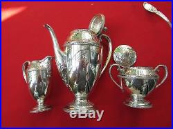 Marquise Pattern 3 Piece Coffee, Sugar & Creamer By 1847 Rogers Silver Plate