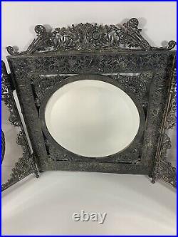 Meriden B. Company (Rogers Smith Co.) Silver Plate Vanity Tri-Mirror 1850-1899