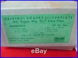 NIB (50) Pc Rogers IS Silverplate Flatware Set, Service 8, 1951 Magnolia #12