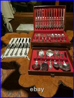ONEIDA Silver Plate 1881 Rogers Victorian Silverware Set 84 pieces