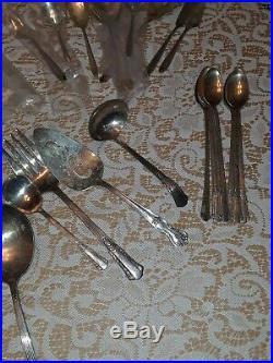 Old Silverplate Vintage Flatware Lot Silverware 86 Pcs WM Rogers & Meriden Mix
