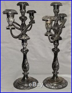 Pair triple arm Candelabra, silverplate, Heritage, 1847 Rogers Bros, IS, Rococo