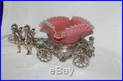 RARE Rogers Bro. #186 Antique Cherubs Pulling Cart Victorian Brides Basket