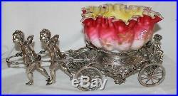 RARE Rogers Bro. #186 Antique Cherubs Pulling Cart Victorian Brides Basket Bowl