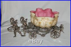 RARE Rogers Bro. #188 Antique Cherubs Pulling Cart Victorian Brides Basket