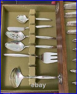 ROGERS BROS GARLAND SILVER PLATE FLATWARE SERVICE FOR 12 MID CENTURY 79 pieces
