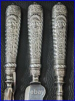 Rare Antique Carving Set Assyrian Head 1886 Rogers Bros 1847 I. S