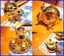 Rare Antique WM ROGERS 24K gold Plate Coffee Tea Creamer Sugar & Tray Set