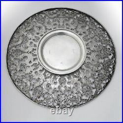 Roger Williams Openwork Ornate Cake Plate Sterling Silver Overlay Mono