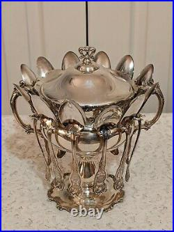Rogers Bros. Ornate Repousse Victorian Triple Silverplate Sugar Spooner withSpoons