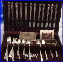 Rogers Eternally Yours 73pc service for 12 (8 Round Gumbo spoons). EXC L7