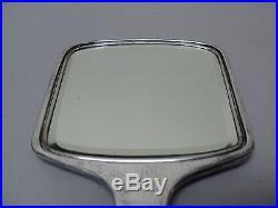 Rogers HERALDIC Art Deco Hand-Hammered Silver Hand Mirror, Crest & Monogram