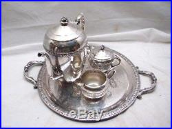 Rogers Silver on Copper Tea/Coffee Set withServing Tray Teapot Pot 2307