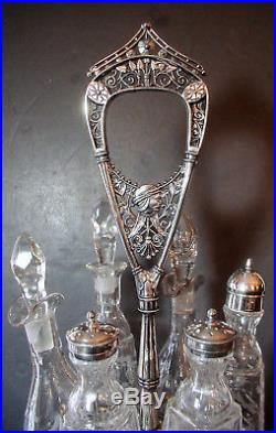 Rogers Smith Aesthetic Movement Extra Tall 1800s Silverplate Cruet Castor Set