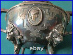 Rogers Smith Footed Silverplate Covered Sugar Lion Feet Medallions Faces