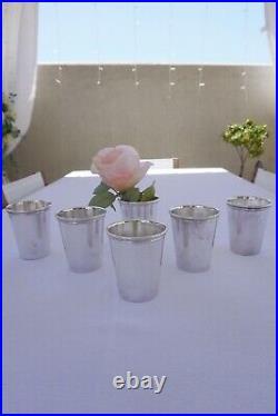 Set of 6 Vintage Wm. Rogers Silverplate Mint Julep Cups Glasses #1025 Barware