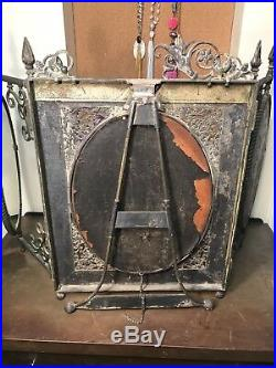 Silver Plate Tri-fold Etches Vanity Mirror Antique Victorian Ladies Rogers Bro
