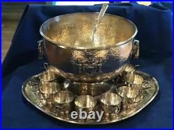 Stunning 1847 ROGERS BROS. 1916 HERALDIC SILVERPLATED PUNCH BOWL SET COMPLETE