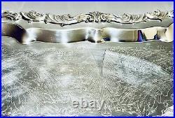 Stunning Antique Large Footed 29 Long Victorian Silver Plate Tray By FB Rogers