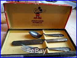 VINTAGE 1930s WALT DISNEY MICKEY MOUSE SILVERPLATE WM ROGERS & SON WITH BOX