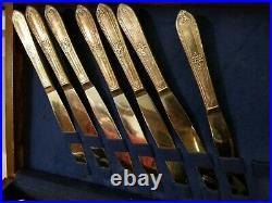 VINTAGE SILVER PLATE FLATWARE SILVERWARE WM ROGERS COTILLION 48 Piece service 8