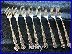 VINTAGE Wm A ROGERS SILVER-PLATE 54pc ROSE VALLEY FLATWARE SET IN ORIG WOOD CASE
